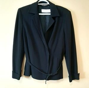 Max Mara Black Wool Blend Belted Blazer